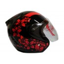 THI Helmet Flower Series Half Face Red Black 1