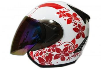 THI Helmet Flower Series Half Face Red White