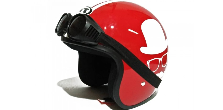THI Helmet Gentleman Red Gloss Retro 0