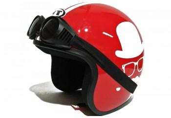 THI Helmet Gentleman -  Red Gloss Helm Retro