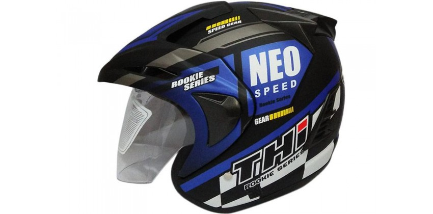 THI Helmet Neo Speed Half Face Blue Black Doff 0