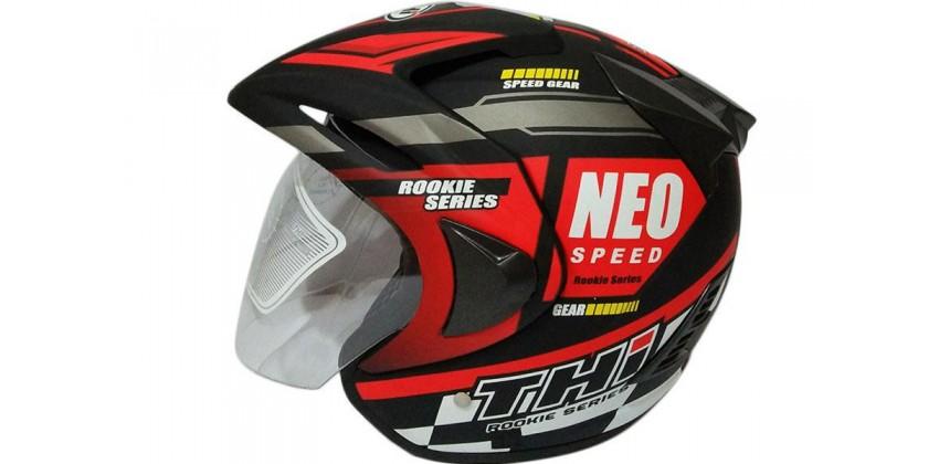 THI Helmet Neo Speed Half Face Red Black Doff 0
