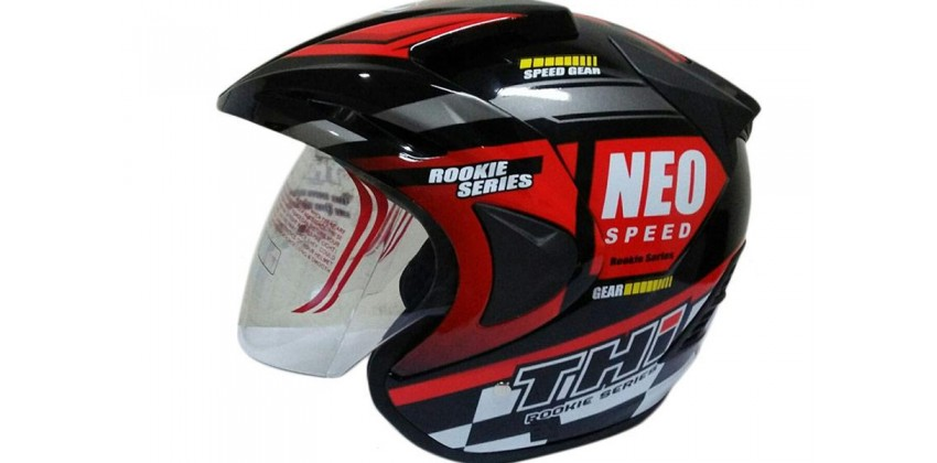 THI Helmet Neo Speed Half Face Red Black Gloss 0