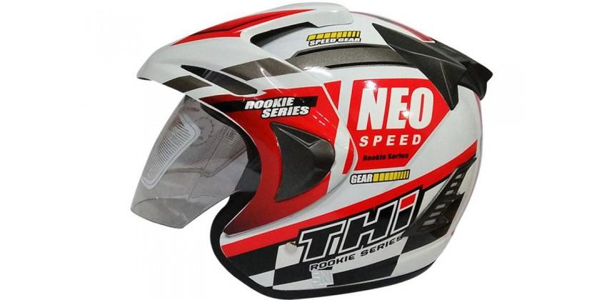 THI Helmet Neo Speed Half Face Red White Gloss 0