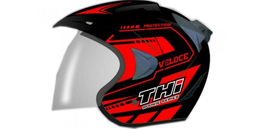 THI Helmet Veloce Half Face Red Black Doff 0