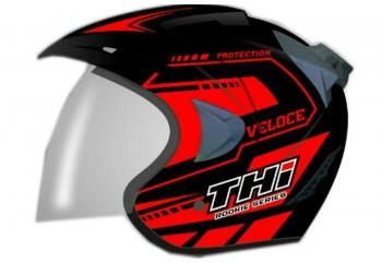 THI Helmet Veloce Half Face Red Black Doff