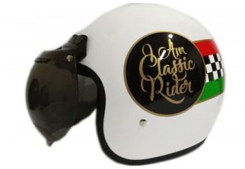 THI Helmet Vespa Classic Rider Helm Retro Hitam