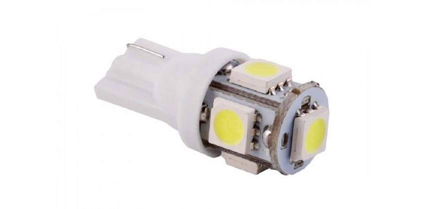 T10 W5W  Wedge Side 5 SMD Bohlam Bohlam Depan LED 0