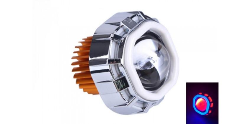 Virgo Racing LED Lampu Projector Model Kotak / Proji Light Angel Eye+Devil Eye LP7 Projie Putih 0