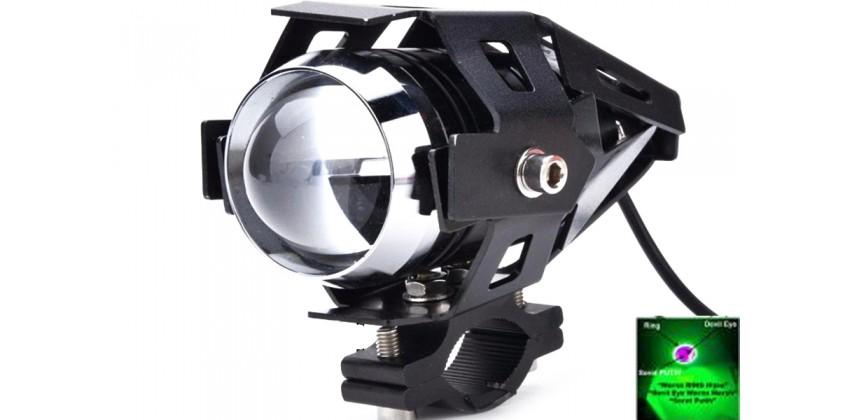 Virgo Racing Lampu Tembak LED U7 Besar Sorot Putih + Eagle Eyes Ring Hijau dan Devil Merah Bonus Kunci L-5 Untuk Pemasangan Projie 0