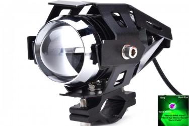 Virgo Racing Lampu Tembak LED U7 Besar Sorot Putih + Eagle Eyes Ring Hijau dan Devil Merah Bonus Kunci L-5 Untuk Pemasangan Projie