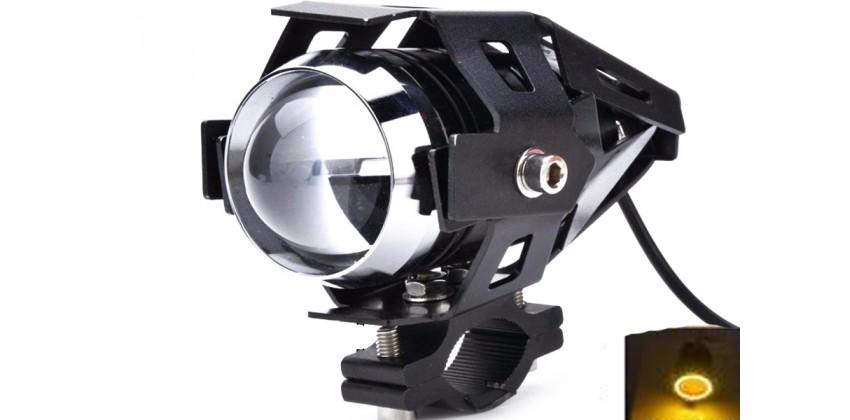 Virgo Racing Lampu Tembak LED U7 Besar Sorot Putih + Eagle Eyes Ring Kuning dan Devil Merah Bonus Kunci L-5 Untuk Pemasangan Projie 0