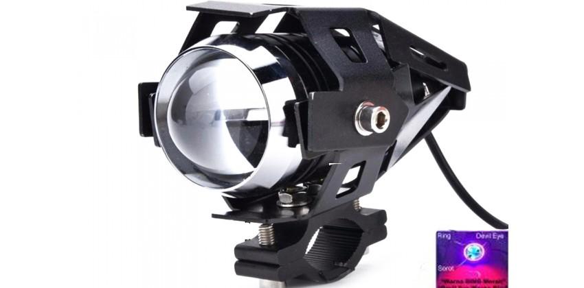 Virgo Racing Lampu Tembak LED U7 Besar Sorot Putih + Eagle Eyes Ring Merah dan Devil Biru Bonus Kunci L-5 Untuk Pemasangan Projie 0