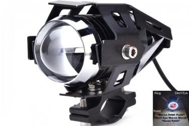 Virgo Racing Lampu Tembak LED U7 Besar Sorot Putih + Eagle Eyes Ring dan Devil Merah Bonus Kunci L-5 Untuk Pemasangan Projie
