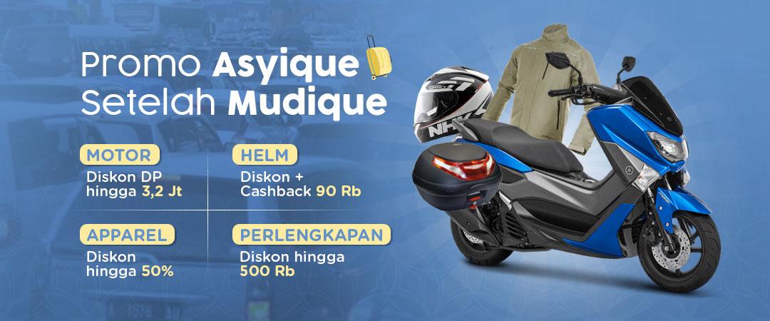 Promo Asyique Setelah Mudique - Diskon DP Motor, Apparel, Cashback Helm dan Lainnya