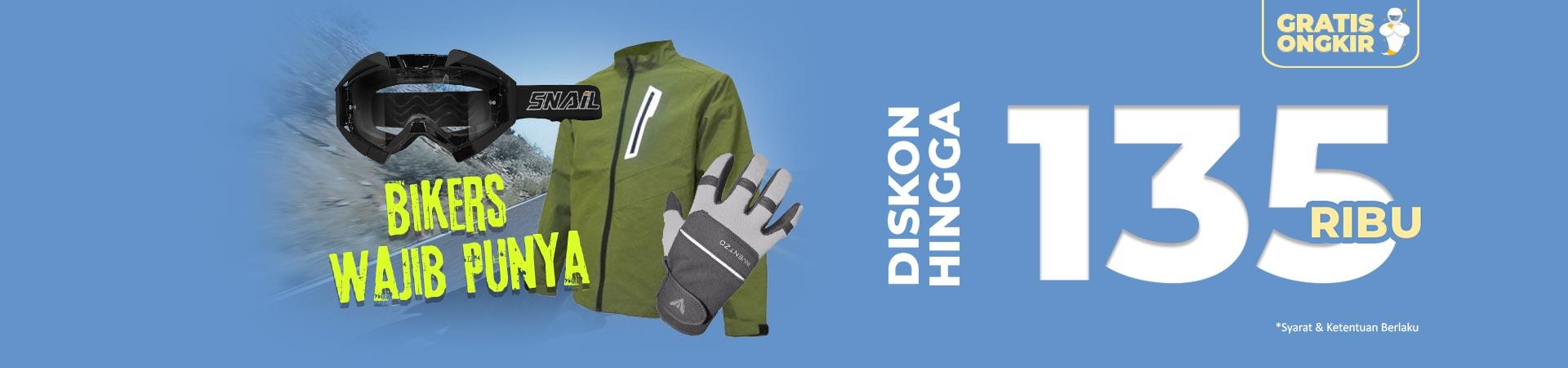 Diskon Jaket Motor, Sarung Tangan, Kaca Mata dan Masker Motor